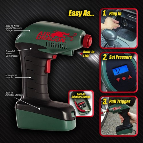 Air Dragon Portable Air Compressor with Built-In LED Light – The Quick & Easy Way to Fill Your Tires