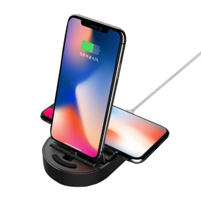 Totu Design 2 in 1 iPhone Dock with Wireless Charger - Black