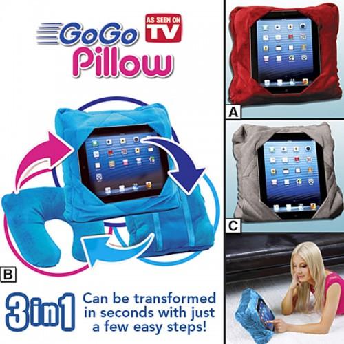 Gogo Pillow - 3-in-1 Travel Pillow, Neck Pillow, Tablet Holder - Blue