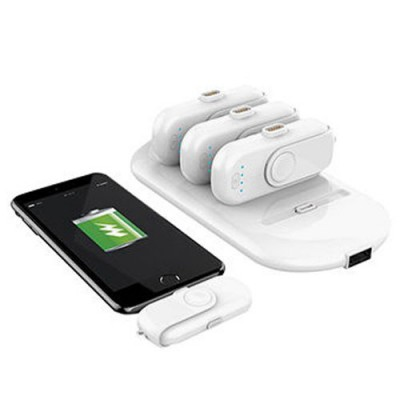 Portable Magnetic Charger Power Bank 4 charging packs (Each 1000mAh) Fit for iPhone, Android and type-C phones - White