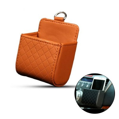 Car Auto Outlet Vent Trash Box PU Leather Mobile Phone Holder