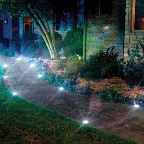Waterproof Solar Powered LED Disk Lights ( Pack Of 4 )