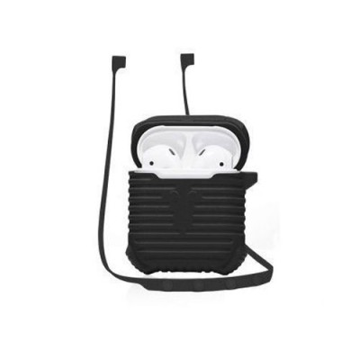 COTEetCI Silicon Case with Strap For Apple Airpods - Black