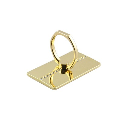 Diamond Design 360 Degree Rotation Ring Holder For All Smartphones - Gold