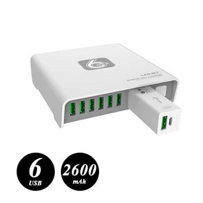LDNIO 6 USB Port Charger with 2600 mAh Mobile Power Bank