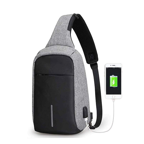 Shoulder Sling Side Bag For for Travel and Camping - Gray