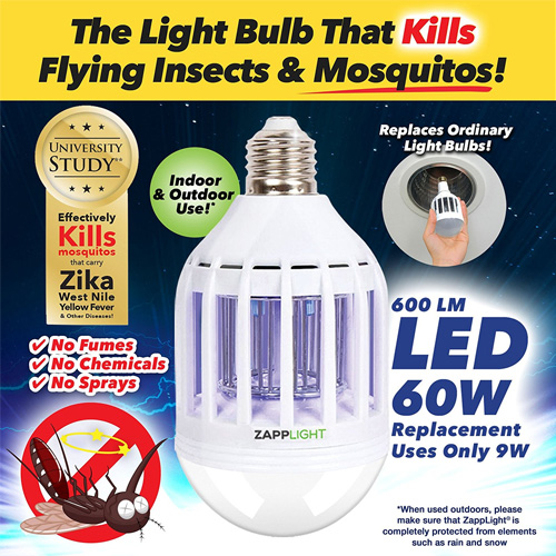 ZappLight LED 60W Bug Zapper Bulb Kills Insect and Mosquito On Contact