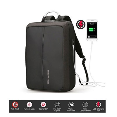 Anti-Theft Laptop Backpack with USB Charging and Numeric Lock - Black