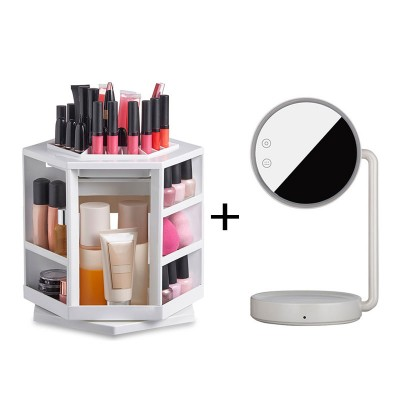 BUNDLE OFFER 360 Degree Makeup Organizer & Joyroom LED Makeup Mirror Light