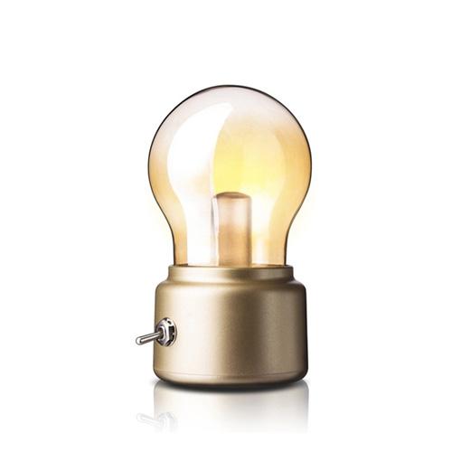 USB Rechargeable Creative Retro Bulb Night Light - Gold