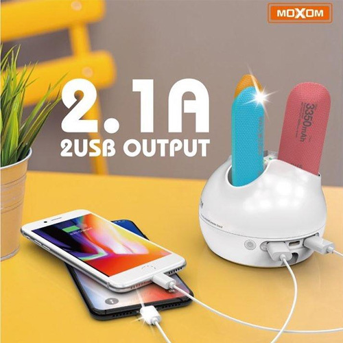 Moxom 3 x 3350 mAh Power Bank Station with 2 USB Charger
