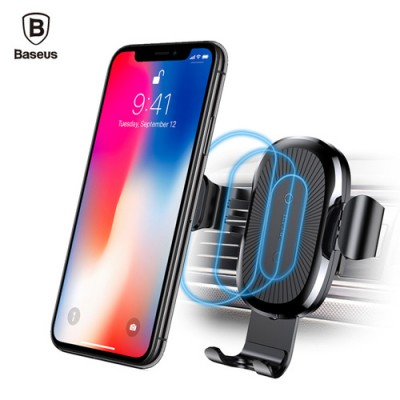 Baseus Wireless Fast Charger Gravity Car Mount  For iPhone XS Max , iPhone X , Note 9 , Note 8