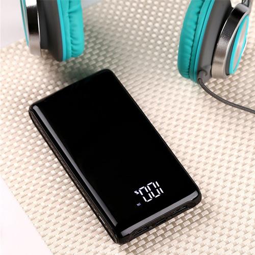 MoXom 10000 mAh Slim Power Bank with LED Display & USB-C Charging Port - Black