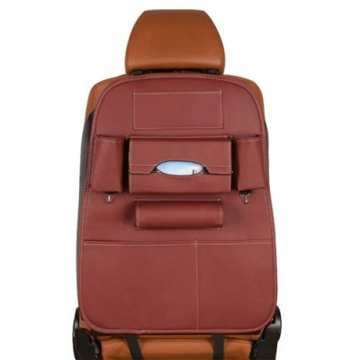 Creative Storage Leather Car Back Seat Storage Bag  - Red