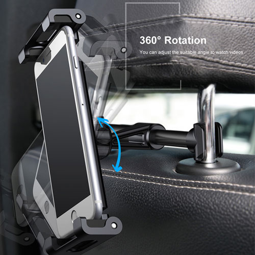 "Baseus Adjustable Headrest Mount Backseat Car Mobile Holder 360 Rotation for (4.7"" to 12.9"") Mobile & Tablets - Black"