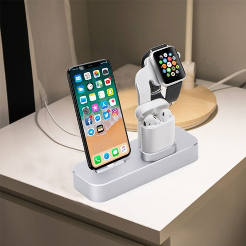 COTEetCI 3 in 1 Aluminum Charging Dock For Apple Airpods , iWatch and iPhones - Gray