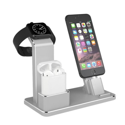 Multifuctional 3 In 1 Dock For Apple Watch , IPhone & Airpods - Silver