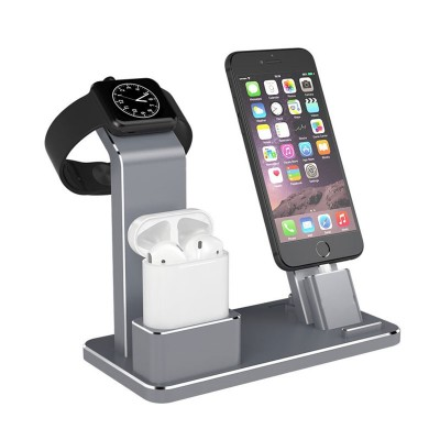Multifuctional 3 In 1 Dock For Apple Watch , IPhone & Airpods - Black