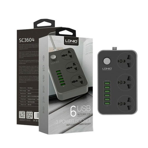 LDNIO 6 Port USB Charger 3.4A 3 Outlet Power Strip