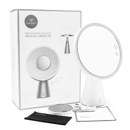 FASCINATE Rechargeable LED Makeup Mirror with Bluetooth Speaker, 1X 5X Magnifying Mirror,Smart Table Lamp with 90° Rotation