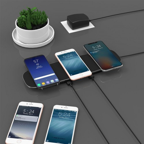 3 in 1 Qi WIreless Charging Pad For iPhone X , iPhone 8 , S8 , Note 8 - Black