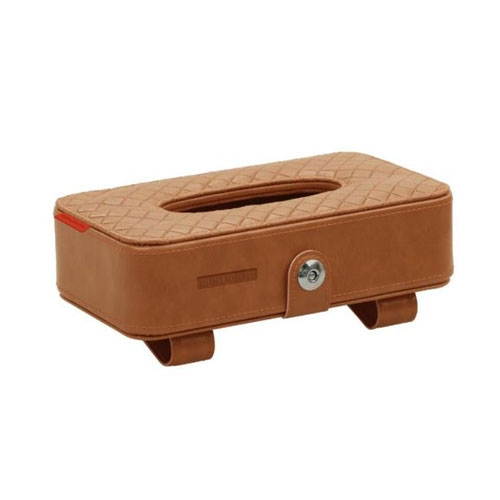 Car Sun Visor Leather Tissue Box Holder - Brown
