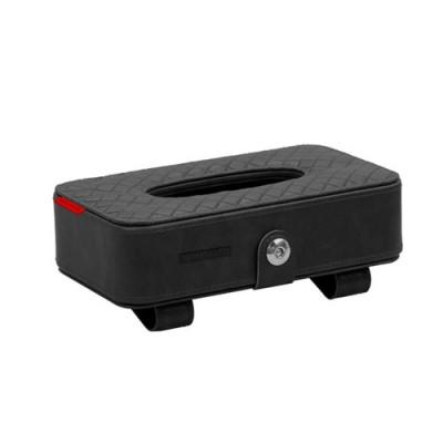 Car Sun Visor Leather Tissue Box Holder - Black