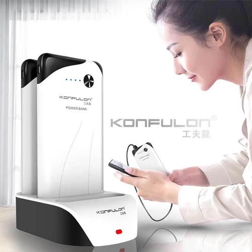 Konfulon 3 x 10000 mAh Power Bank Station with Dual USB Charger