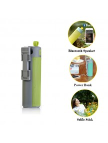 WOPOW Bluetooth Speaker with Selfie Stick & Power Bank - Green