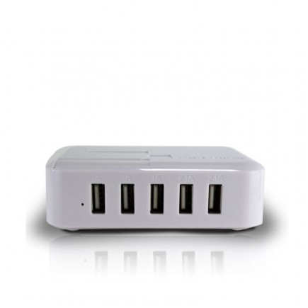 5 USB Port Charging Station- White