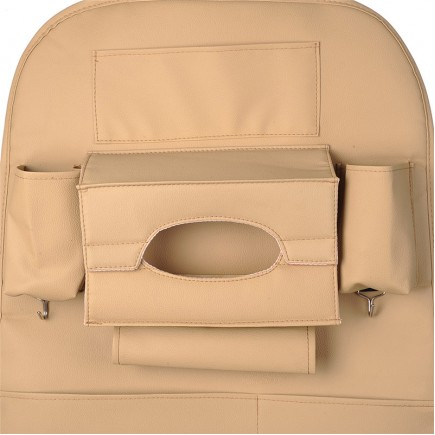 Creative Storage Leather Car Back Seat Storage Bag  - Beige