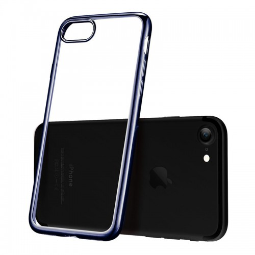 Electroplating Ultra Slim Lightweight Soft TPU Case with Free tempered Glass for iPhone 7 / 8 - Black