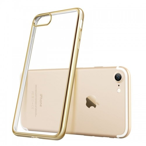 Electroplating Ultra Slim Lightweight Soft TPU Case with Free tempered Glass for iPhone 7 / 8 - Gold