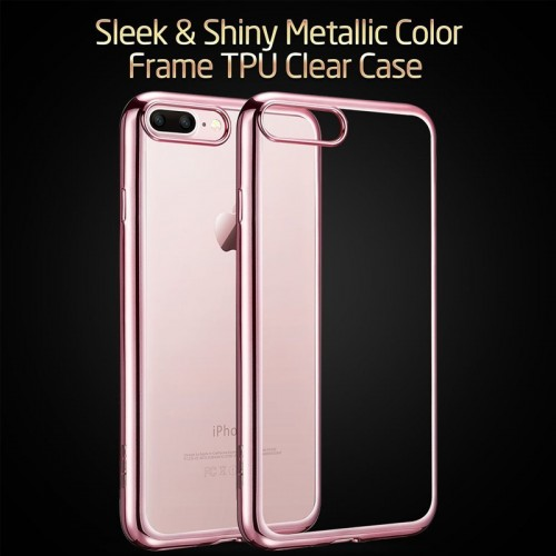 Electroplating Ultra Slim Lightweight Soft TPU Case with Free tempered Glass for iPhone 7 / 8 - Rose Gold