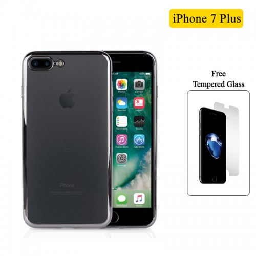 Electroplating Ultra Slim Lightweight Soft TPU Case with Free tempered Glass for iPhone 7 Plus / 8 Plus - Black