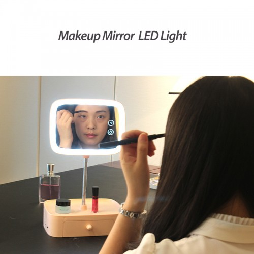 Rechargeable LED Makeup Mirror Lamp for Women with LED Lamp, Night light , Storage & Bluetooth Speaker - Pink