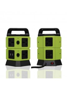 Vertical Multiple Universal Extension with 5 Sockets, 2 USB Ports - Green