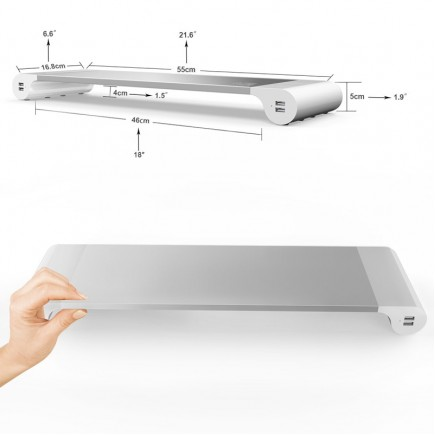 Aluminum Monitor Stand Space Bar with Keyboard Storage for Laptop ,  MacBook , iMac with 4 USB Port