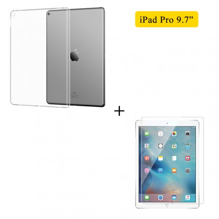 Tempered Glass + Transparent TPU Case For iPad Pro 9.7 inch
