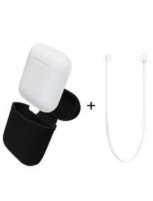 Apple AirPods Silicone Protective Case + Strap - Black