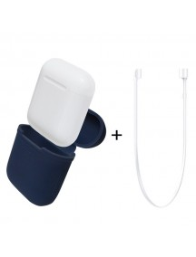 Apple AirPods Silicone Protective Case + Strap - Blue