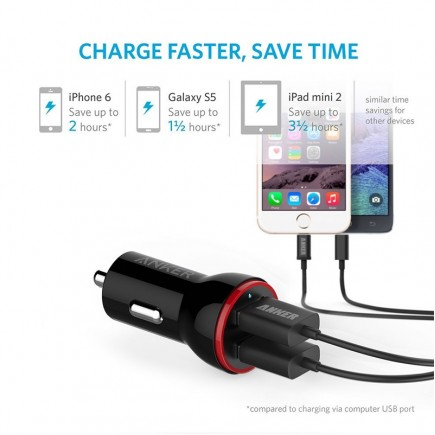 ANKER 2 USB Car Charger - Black