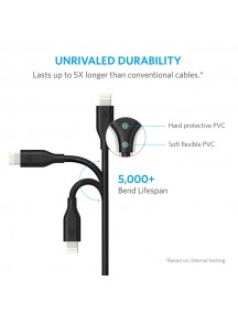 ANKER PowerLine Lightning Cable For IOS Dvices (6ft / 1.8m) - Black