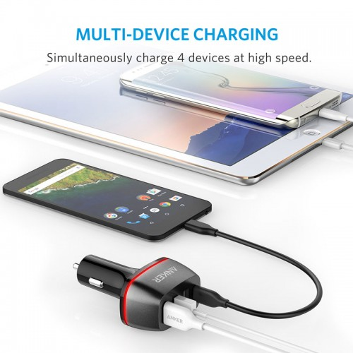 Anker PowerDrive+ 4 with Quick Charge 3.0,4-Port USB Car Charger with USB-C