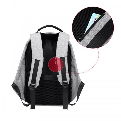 Anti-Theft Backpack With USB Charging Port For Laptops UpTo 15.6""