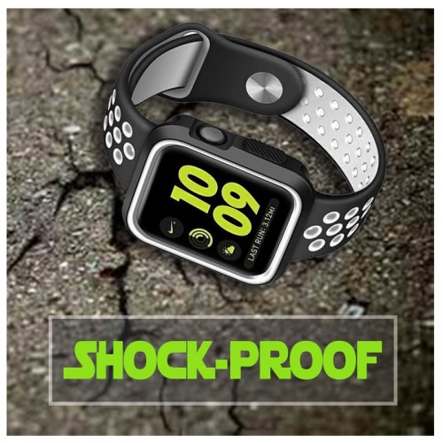 Limited Edition Nike+ Silicon Sports Band + Case For Apple Watch 42MM - Black/White
