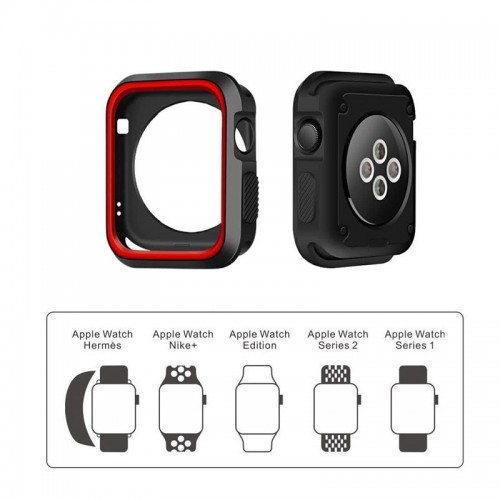 Limited Edition Nike+ Silicon Sports Band + Case For Apple Watch 42MM - Red/Black