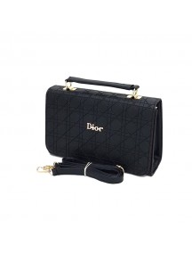 DIOR Ladies Leather Cross Bag - Black