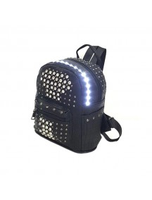 LED Light illuminating Backpack Bag - Black