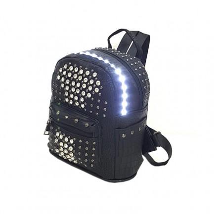 LED Light illuminating Backpack Bag - Black